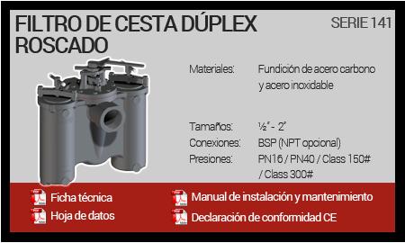 Filtro de Cesta Dúplex Roscado - Serie 141
