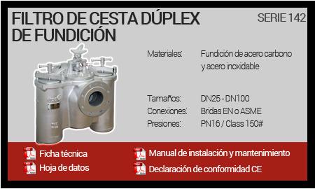 Filtro de Cesta Dúplex de Fundición - Serie 142