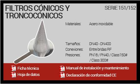 Filtros Cónicos y Troncocónicos - Serie 151-152