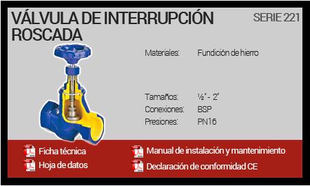 Válvula de interrupción roscada - Serie 221
