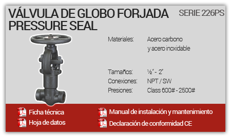 Válvula de Globo Forjada Pressure Seal - Serie 226PS