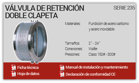 Válvula de Retención Doble Clapeta - Serie 235