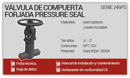 Válvula de Compuerta Forjada Pressure Seal - Serie 246PS