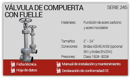 Válvula de Compuerta con Fuelle - Serie 245